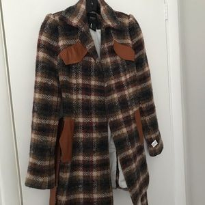 Smythe wool coat with leather accents
